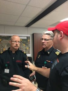 Left to right: Sturgeon County Fire Services Officer Glenn Innis,  Lamont County Fire Chief Randy Siemens and Cenovus Emergency Management Advisor Colin MacDonald were all part of the mutual aid emergency response exercise held March 29th at Cenovus.